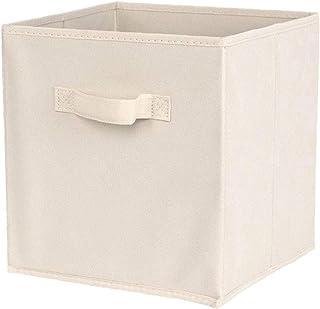 Tissu panier Bin Boîtes de rangement de rangement pliable cubes Organisateur avec poignées blanc Fournitures, stockage