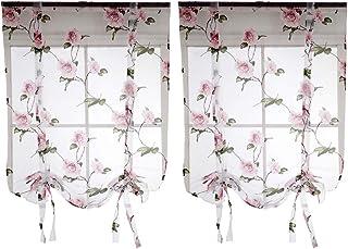 Homyl 2pcs Kitchen Small Window Curtain Tie Up Roman Sheer for Bathroom Balcony 32x40