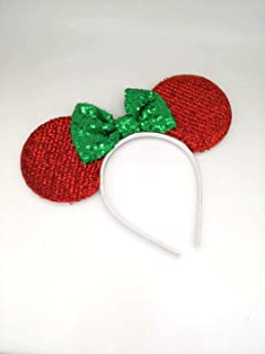 Red Mickey Ears, Handmade Sleeping Beauty Inspired Mouse Ears Headband Green Minnie Ears One Size Fits All