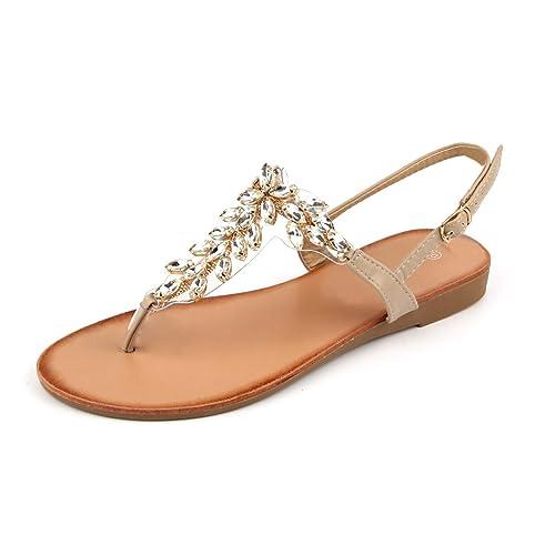 2a9e93e2d MuDan Mu Dan Womens Shoe Braided Rhinestone Flat Sandal