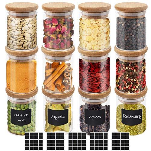 CDWERD 12 tarros de Cristal para Especias de 100 ml, Tapa de Madera de bambú 100 Pegatinas cuadradas vacías para Guardar teteras y Especias