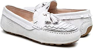 OZWEAR UGG Australia Ladies Suede Casual Moccasin Slip on Driving Shoes Spring Summer Autumn Ladies Norah Loafer OB432 (24~24.5 cm / AU7L / EU38, Pearl)