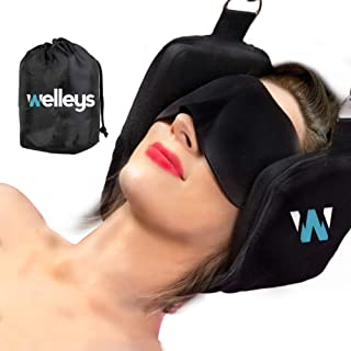 Welleys - 2019 New Updated Version Portable Neck Hammock   for Neck Traction and Neck Pain Relief   Neck Stretcher and Back Stretcher   Free Eye Mask   Cervical Traction Device   Office & Home Use