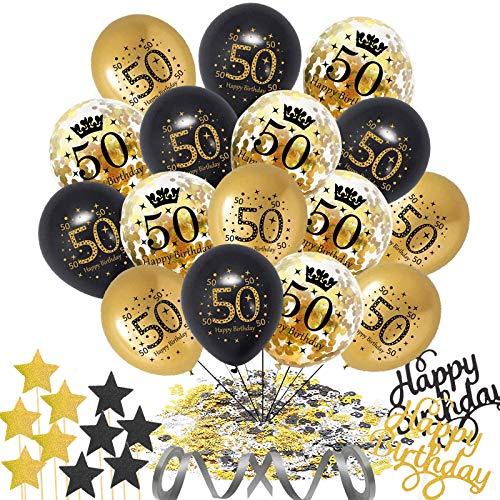 55 Stück 50. Geburtstag Deko,50 Geburtstag Dekor Schwarz Gold,Schwarz Luftballons Gold Konfetti Luftballons mit Konfetti,Happy Birthday Kuchen Topper,Star Cupcake Topper Geburtstagsparty Deko