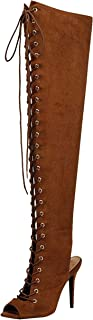 Breckelle's Womens Randi-23 Faux Suede Lace Up Back Thigh High Boots Tan 7