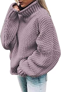 LEKODE Women's Turtleneck Fashion Solid Long Sleeve Sweater