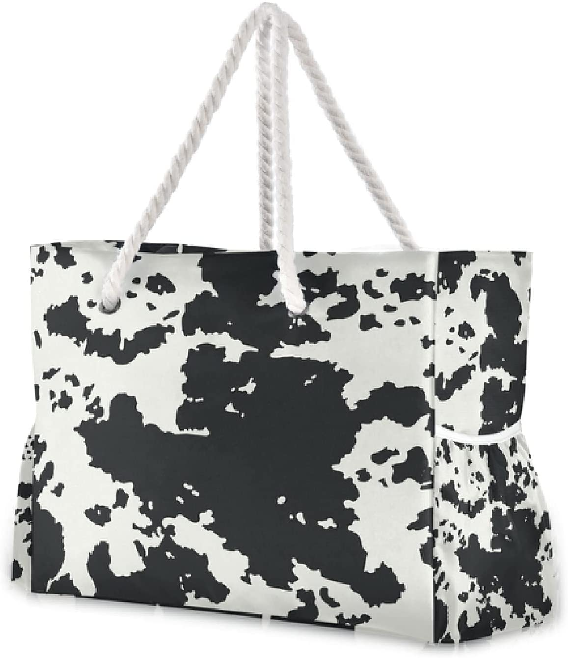 Year-end annual account OTVEE Cow Skin Animal Prints Beach Large Travel Tote Bag 70% OFF Outlet Zip