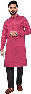 Amzira Mens Ethnic wear Dupioni Silk Kurta Pajama Set- Pink