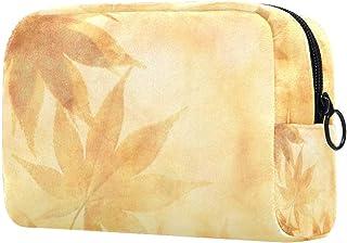 Yellow Orange Makeup Bag Toiletry Bag for Women Skincare Cosmetic Handy Pouch Zipper Handbag