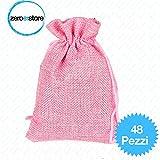 48 sacchetti di Juta colore rosa per bomboniere confetti compleanni matrimonio stile shabby chic