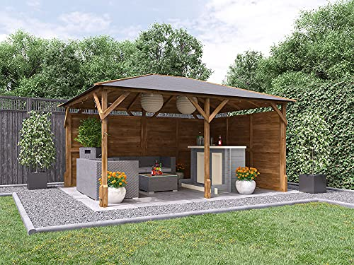 Garden Bar Gazebo Wooden Heavy Duty Pressure Treated Shelter With Black Roof Shingles, Log Bar and Two Side Panels Included Utopia W4.2m x D3.2m