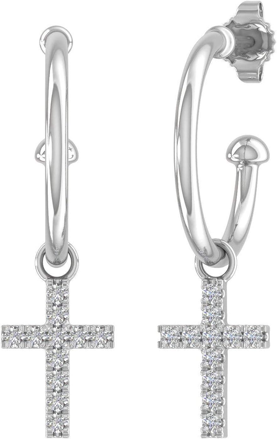 10K Solid Gold Diamond Hoop Soldering Cross Earrings Carat 0.12 Portland Mall With