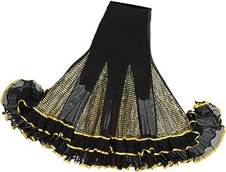 Sharplace Flamenco Damen Rock Maxirock Lange Rock Tanzrock Latein Walzer Tango Rock Ballsaal Tanzen Lange Sequin Kleid Sommerkleid