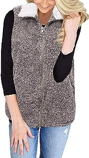 MISYAA Gradient Vests Tops for Women Comfy Sleeveless Zipper Turtleneck Faux-Fur Coats Winter Warm Cardigans Casual Wrap Tops