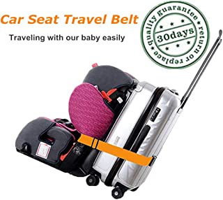 Kids Car Seat Travel Belt Luggage Strap to Convert CarSeat and Luggage Suitcase into an Airport Car Seat Stroller & Carrier(Orange)