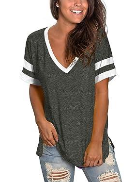 SAMPEEL Womens Tops Striped Short Sleeve V Neck Tee T Shirts Side Split Tunic