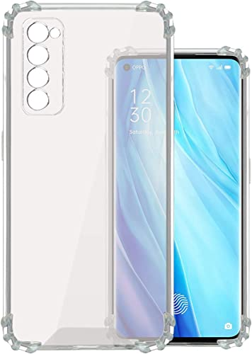 Jkobi Shockproof Bumper TPU Flexible Soft Back Case Cover for Oppo Reno 4 Pro with Dust Plug and Camera Protection Transparent