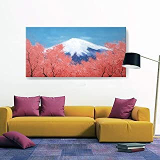 amatop Extra Large Canvas Wall Art 100% Hand-Painted Oil Painting Modern Nature Artwork Mount Fuji Sakura Blue Sky Japan Landscape Picture for Living Room Office Bedroom Ready to Hang 60x30inch