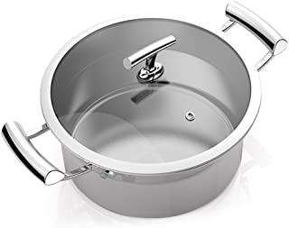Terrines Cooking Pot 304 Stainless Steel Stockpot Round Cooker Functional Household Pan (Color : Gray, Size : 252211cm)