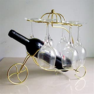 2 Pcs Wine Rack Metal Hanging Cup, 1 Bottle of Wine+6 Wine Goblet within 17CM Shelf Iron Chariots Wine Cup Holder 33X24x31cm,Metallic