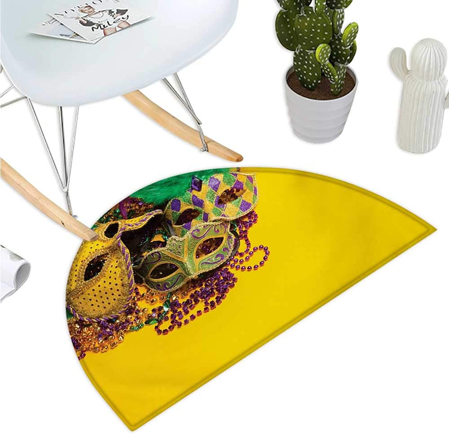Mardi Gras Semicircle Doormat Festive and colorful Group of Venetian Carnival Masks and Accessories Halfmoon doormats H 47.2  xD 70.8  Yellow Purple Green