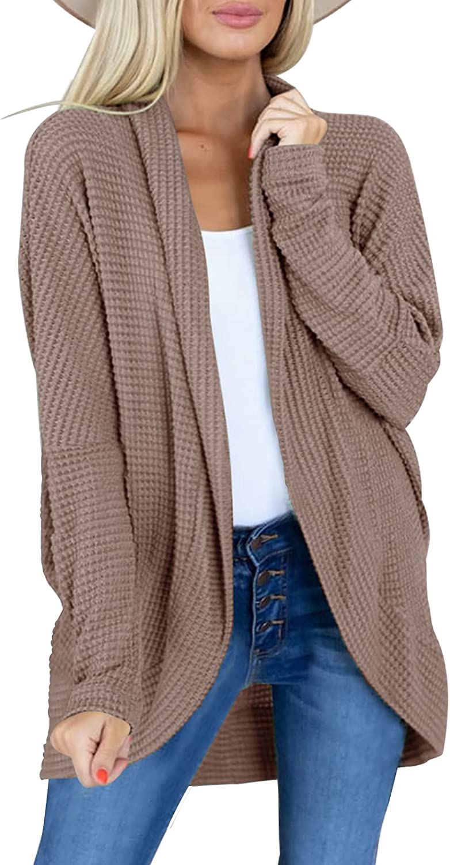 Misassy Womens Open Front Long Sleeves Batwing Lightweight Kimono Knit Sweater Cardigan Boho Loose Outwear Coat