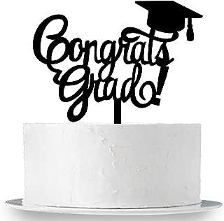 INNORU Congrats Grad Cake Topper - Black Acrylic Class of 2019 2020 Graduate Party Decorations Supplies - High School Graduation, College Graduate Cake Topper