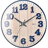 Felio 置き時計・掛け時計 ネイビーブルー (約)高さ30.8×幅.30.8×奥行き5.7cm