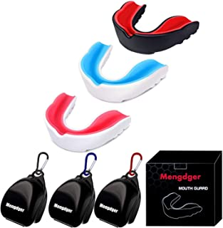 Mengdger Youth Mouth Guard Football Moldable MouthGuard Sports Kids Boys Mouthpiece Teeth Protective Braces EVA Double Colored for MMA Boxing Rugby Kickboxing Taekwondo Softball Lacrosse(3 Pack)
