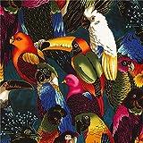 Blau-schwarzer Papageien Stoff von Alexander Henry
