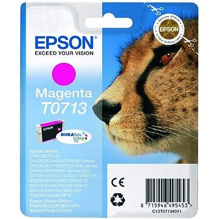 Epson Original T0713 Tinte Gepard Wisch Und Wasserfeste Singlepack Magenta Bürobedarf Schreibwaren