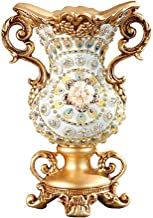 ZR-DECOR European-Style Retro Resin Large Flower Vases for Living Dining Room Table Centerpiece Bedroom Office Hotel Home Decoration Hand-Painted Tall Decorative Vase, Best Parents Gift(22× 30 ×15cm)