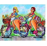DIY 5Dダイヤモンド絵画漫画自転車レディモザイクスクエアダイヤモンドクロスステッチ手作り家の装飾