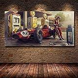 wZUN Vintage Car Poster Classic Racing Car Racing Obra de Arte Mural Imagen Impresa Lienzo Pintura hogar Sala de Estar decoración 60x120 Sin Marco