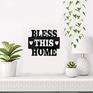 Sehaz Artworks Bless This Home Plaque Sign - Black Wooden Plaque Wall Hangings Home Room & Wall Decor Wall Art