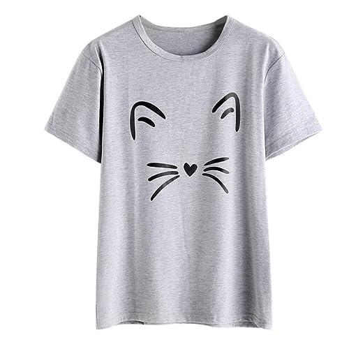 afef29573 Daoroka Women Blouse Casual Short Sleeve Cat Printed Cute Fashion Comfort  O-Neck Tops T