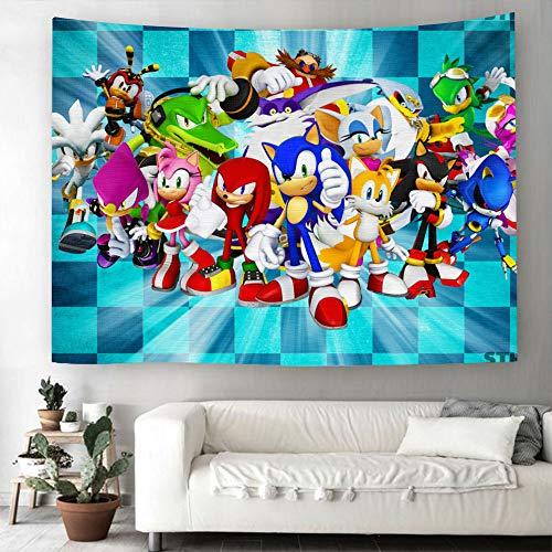 MYLZZ Tapiz de pared de Sonic The Hedgehog, diseño de dibujos animados, para decoración del hogar, manta de playa, colcha (estilo 11,150 cm x 230 cm)