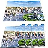 COFEIYISI Manteles Individuales Juego de 4,City View of The Center Barcelona España Panorama Bus Catedral Fountain Travel Salvamanteles Resistentes al Calor para la Mesa de Comedor de Cocina 30x45cm