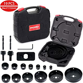 Hole Saw Set HYCHIKA 19 Pcs Hole Saw Kit with 13Pcs Saw Blades, 2 Mandrels, 2 Drill Bits,..