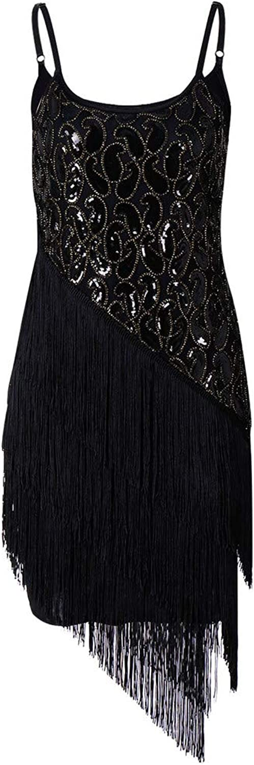 Gatsby Dress, Women's Retro Tassel Sequin Deco Paisley Flapper Party Prom Cocktail Strap Dresses Hand Made Dress
