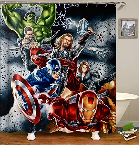 nobrand OceanCube Shower Curtain Set Cartoon Hulk Iron Man Captain America and Thor on Black Background Super Hero Style Polyester Fabric Bath Curtain Durable Bathroom Curtain with Hooks 71X71 Inch