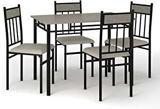 Tangkula 5 Piece Kitchen Dining Table Set, Modern Table and Chairs Set Include One Rectangular Table and Four High-Back Chairs, Metal Frame & Padded Seat, Faux Marble Table Top (Grey)