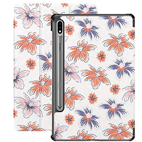 Funda para Galaxy Tab S7 Funda Delgada y Liviana con Soporte para Tableta Samsung Galaxy Tab S7 de 11 Pulgadas Sm-t870 Sm-t875 Sm-t878 2020 Lanzamiento, Flores Dibujadas a Mano Transparente Rosa Rojo