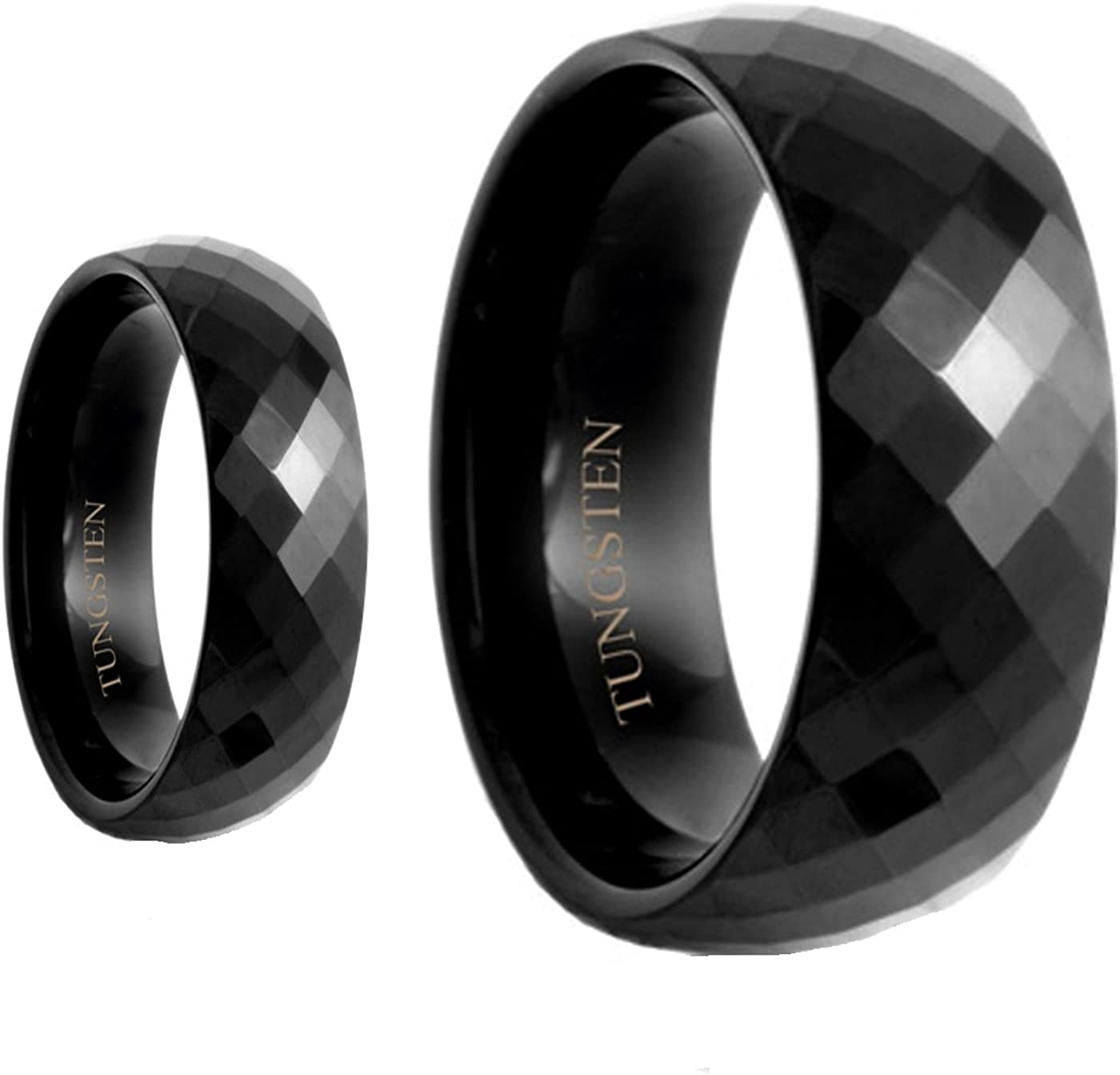 His Credence Her's 8MM 6MM Black Polished Facet Shiny Tungsten Carb Max 84% OFF Cut