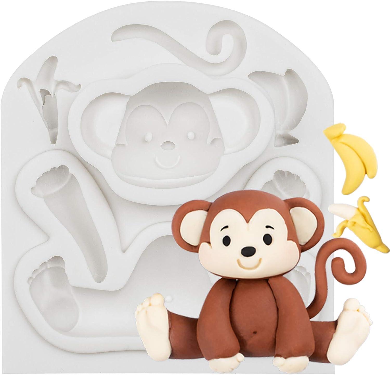 FUNSHOWCASE Jungle Animals Fondant Silicone Molds Sugarcraft Cake Decoration 6-Count Height 2.6-3.6inch