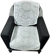 Topaz Furnishings Polycotton Unique Design Sofa Covers for Single Seat, Set of 2, Cream Colour
