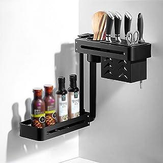 YJKDM Support à épices, Support de Rangement Mural Multifonctionnel, Organisateur d'ustensiles de Cuisine Rotatif (2 étage...