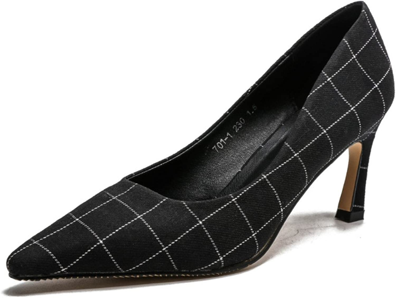 Sandals Black Grid High Heels Satin Court shoes Pumps Wedding Dating Office Party Feminine shoes Stiletto Heel Modern Design