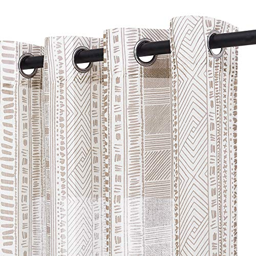 NICETOWN Thick Linen Sheer Curtains for Privacy Protection in Boho Style, Grommet Rustic Flax Window Treatment Semi Sheer Drapes with for Farmhouse/Patio Door, W50 x L95, Taupe, Set of 2
