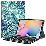 Fintie Tastatur Hülle für Samsung Galaxy Tab S6 Lite 10,4 SM-P610/ P615 2020 mit Stifthalter - Superdünn Keyboard Hülle mit magnetisch Abnehmbarer drahtloser Deutscher Tastatur, smaragdblau